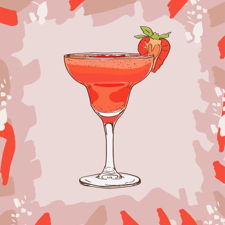 Strawberry daiquiri cocktail illustration. Alcoholic bar drink hand drawn vector. Pop art