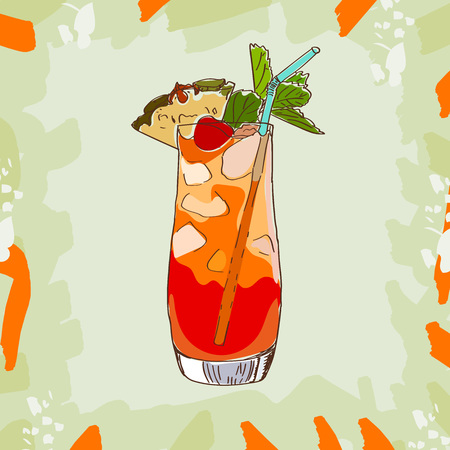 Mai Tai tropical classic cocktail illustration collection. Alcoholic cocktails hand drawn vector illustration set.
