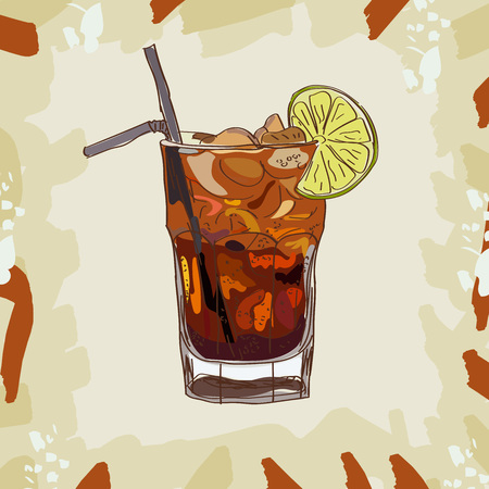 Long island iced tea classic cocktail illustration collection. Alcoholic cocktails hand drawn vector illustration set. Ilustração