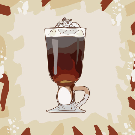 Irish Coffee cocktail illustration collection. Alcoholic cocktails hand drawn vector illustration set.