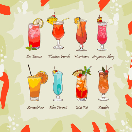 Set of classic tropical cocktails on abstract background. Fresh bar alcoholic drinks menu. Vector sketch illustration collection. Hand drawn. Blue Hawaii, Sea Breeze, Zombie, Singapore Sling, Mai Tai