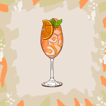 Sketch isolated illustration of cocktail. Contemporary Classics Aperol Spritz bar alcoholic drink. Vector hand drawn image collection.