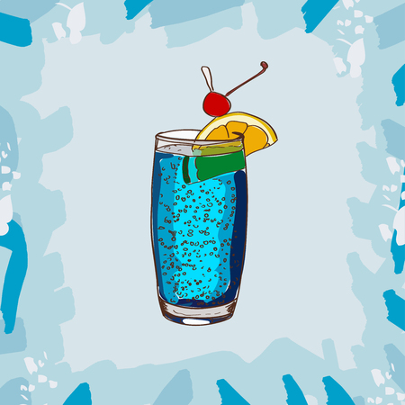 Cocktail Blue Lagoon bar alcoholic cocktail. Set of drawings of contemporary classic drinks. Sketch, hand drawn vector.
