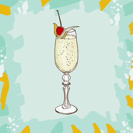 Cocktail French 75classic contemporary bar drink cocktail. Consisting of Gin, Lemon, Sugar Syrup, Champagne. Set of drawings of contemporary classic drinks. Sketch, hand drawn vector. Ilustração