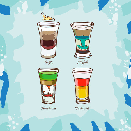 Sketch isolated illustration of short drink cocktails. Contemporary Classics B-52, Hiroshima, Jellyfish, Bucharest bar alcoholic drink. Vector hand drawn image collection.