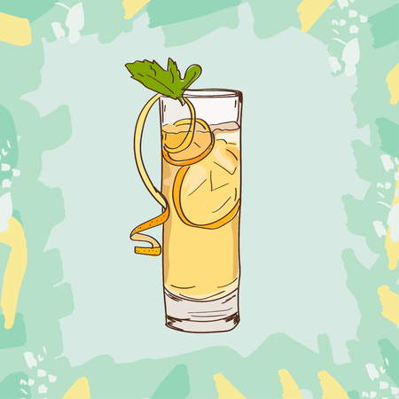 Sketch isolated illustration of cocktail. Contemporary Classics Horses Neck bar alcoholic drink. Vector hand drawn image collection.