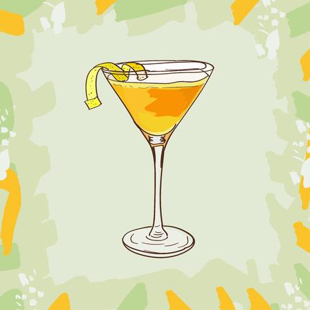 Schizzo illustrazione isolata del cocktail. Bevanda alcolica del bar Martinez dei classici contemporanei. Raccolta di immagini disegnate a mano di vettore.