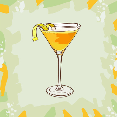 Sketch isolated illustration of cocktail. Contemporary Classics Martinez bar alcoholic drink. Vector hand drawn image collection.