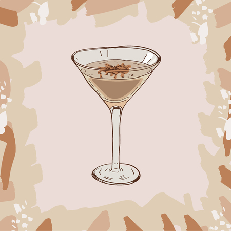 Sketch isolated illustration of cocktail. Contemporary Classics Brandy Alexander bar alcoholic drink. Vector hand drawn image collection.