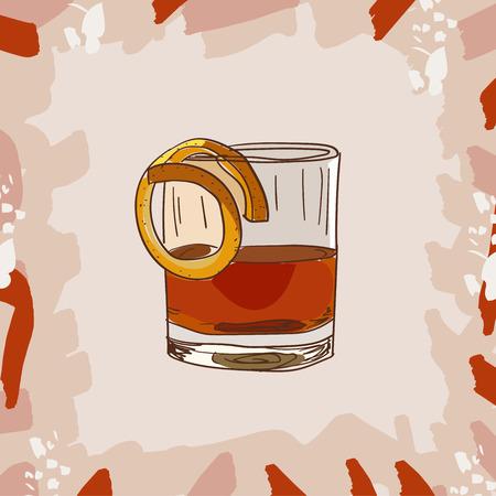 Sazerac cocktail illustration. Alcoholic classic bar drink hand drawn vector. Pop art Illusztráció