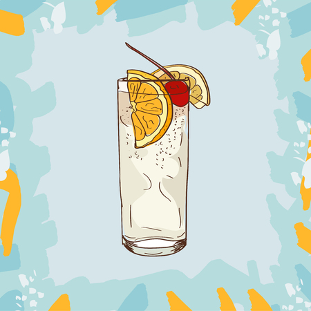Sketch isolated illustration of cocktail. Contemporary Classics Tom Collins bar alcoholic drink. Vector hand drawn image collection. Çizim