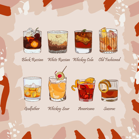 Set of classic cocktails on abstract background. Fresh bar alcoholic drinks menu. Vector sketch illustration collection. Hand drawn. Иллюстрация