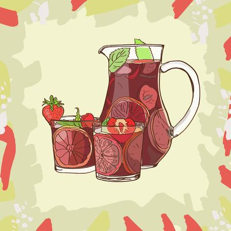 Sangría. Bebida alcohólica tradicional española. Jarra y vaso dibujados a mano