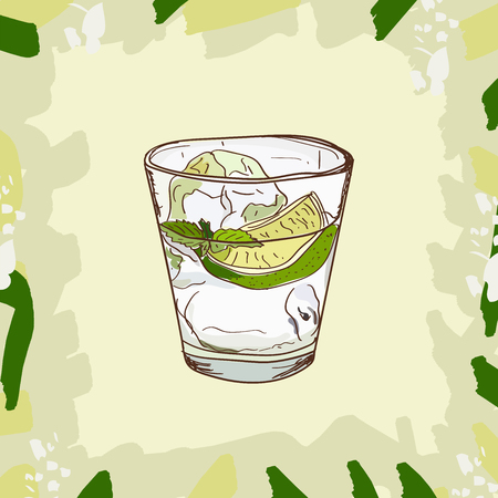 Sketch isolated illustration of cocktail. Contemporary Classics Gin and Tonic bar alcoholic drink. Vector hand drawn image collection.