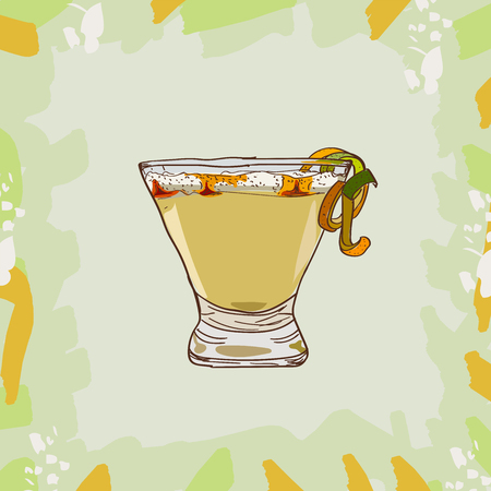 Sketch isolated illustration of cocktail. Contemporary Classics Pisco Punch peruvian bar alcoholic drink. Vector hand drawn image collection.