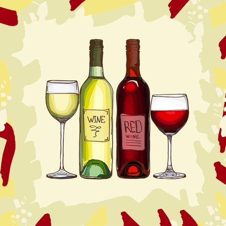 Wine bottles and glasses vector set. White and red drink collection. Hand drawn illustration for bar or reataurant menu. Color image isolated on abstract background.