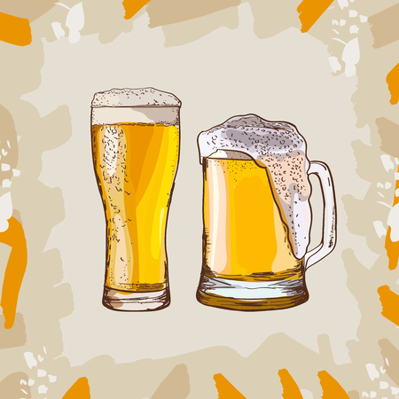 Two glasses of beer, hand-drawing oktoberfest beer, beer with foam. Vector isolated illustration on abstract background. Sketch style image for menu design, poster or flyer.