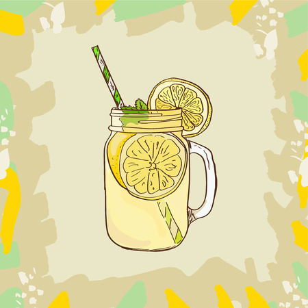 Lemonade in mason jar mug with drinking straw and lemon wedge. Refreshing summer drink vector clip art illustration, doodle style drawing. Isolated sketch style image for menu