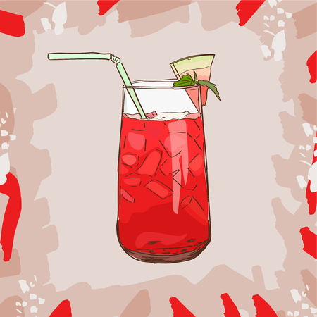 Background with glassware jar with watermelon fresh juice. Detox for health. Vector illustration. Ilustração