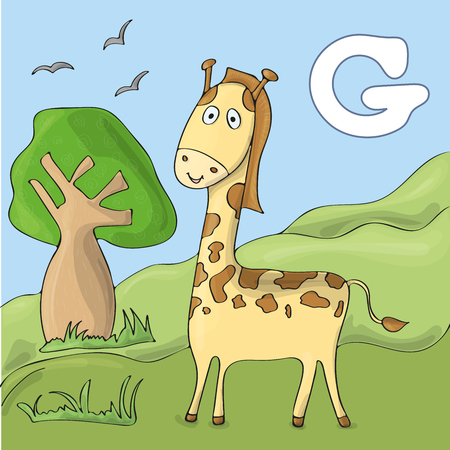 Cute wild animal alphabet for ABC book. Vector illustration of cartoon animals. Giraffe at zoo for F letter image Ilustração