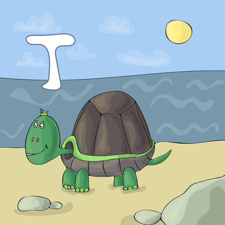 Turtle on the beach by the sea for T letter image. Cute wild animal alphabet for ABC book. Vector illustration of cartoon fauna animals. Illusztráció
