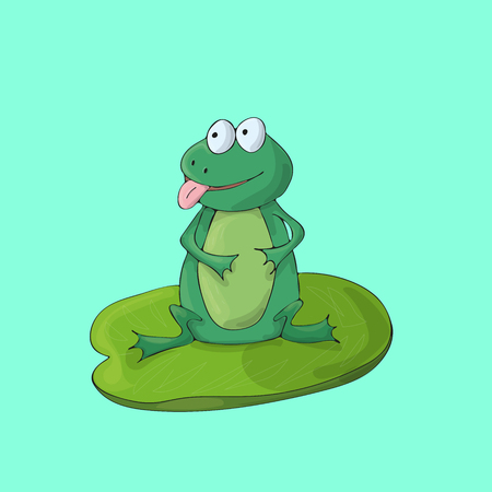 Frog cute on green background. Isolated cartoon vector character. No gradients Illustration