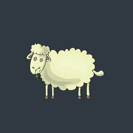 Sheep cute on gray background. Isolated cartoon vector character. No gradients