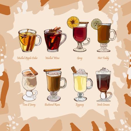 Collection d'illustrations de cocktails classiques chauds. Ensemble alcoolisé dessiné à la main. Menu de croquis de boissons chaudes d'hiver de saison au bar. Vin chaud, Groh, Lait de poule, Irish Coffee, Cidre, Toddy, Tom et Jerry