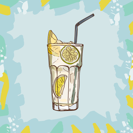 Beton or Gin and Tonic Contemporary classic cocktail illustration collection. Alcoholic cocktails hand drawn vector illustration set. Menu design item of sketch bar drink glass.