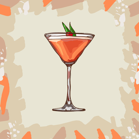 Sketch isolated illustration of cocktail. Contemporary Classics Mary Pickford bar alcoholic drink rum, maraschino liqueur, pineapple juice, grenadine, cherry. Vector hand drawn menu design.