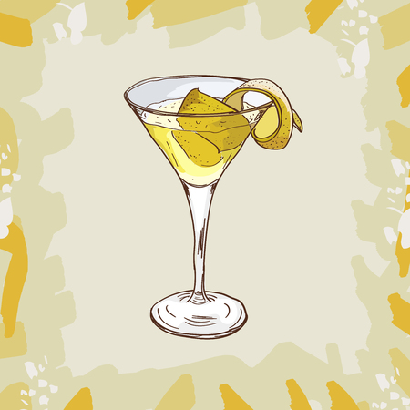 Sketch isolated illustration of cocktail. Contemporary Classics Vesper bar alcoholic drink. Vector hand drawn menu design image collection.