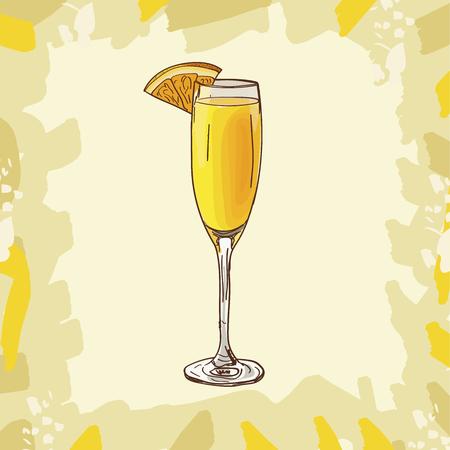 Bevanda alcolica del bar Mimosa dei classici contemporanei. Collezione di immagini di disegno del menu disegnato a mano di vettore. Schizzo illustrazione isolata del cocktail. Vettoriali