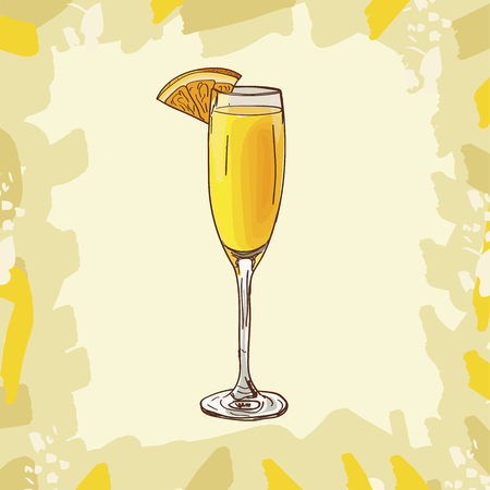 Contemporary Classics Mimosa bar alcoholic drink. Vector hand drawn menu design image collection. Sketch isolated illustration of cocktail. Vector Illustration