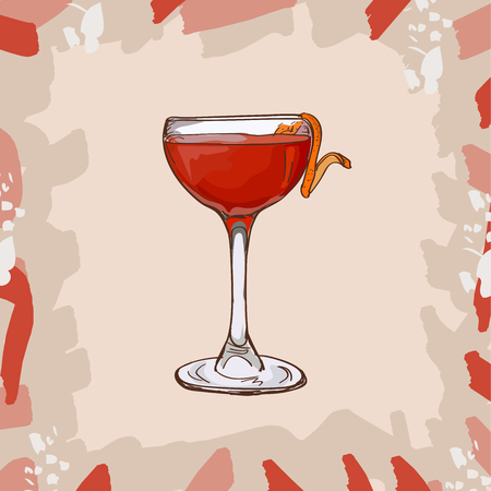Contemporary Classics Monkey Gland bar alcoholic drink. Vector hand drawn menu design image collection. Sketch isolated illustration of cocktail.