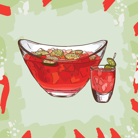 Classics Cruchon, Pimms, Punch watermelon summer bar alcoholic drink. Vector hand drawn menu design image collection. Sketch isolated illustration of cocktail.