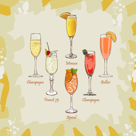 Classics Champagne, Bellini, Mimosa, Kir Royale, French 75, Aperol Spritz bar alcoholic drinks. Vector hand drawn menu design image collection. Sketch isolated illustration of cocktails set. Illustration
