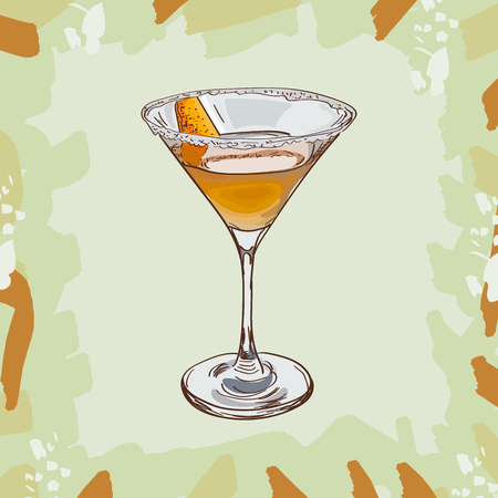 Sidecar cocktail illustration. Alcoholic classic bar drink hand drawn vector. Pop art