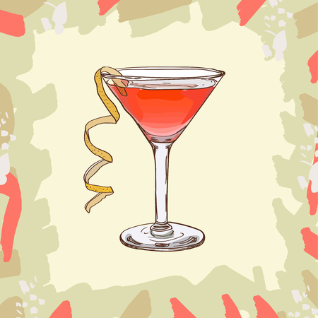 Jack Rose Contemporary Classics bar alcoholic drink. Vector hand drawn menu design image collection. Sketch isolated illustration of cocktail.