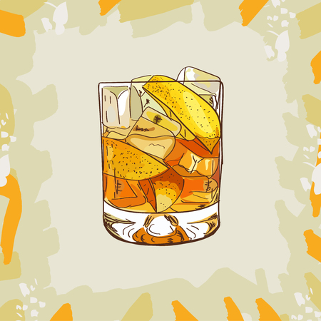 Godmother Contemporary classic cocktail illustration. Alcoholic bar drink hand drawn vector. Pop art