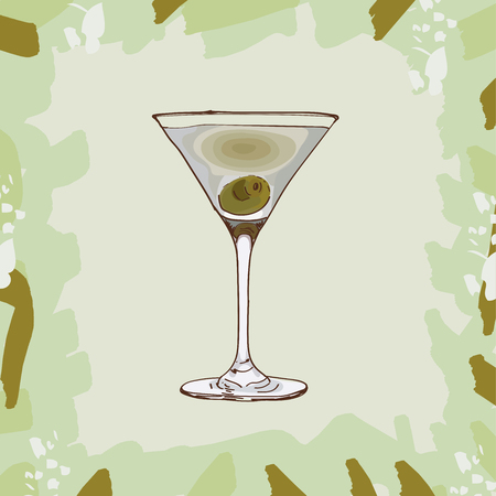 Dirty Martini Contemporary classic cocktail illustration collection. Alcoholic cocktails hand drawn vector illustration set. Menu design item of sketch bar drink glass.