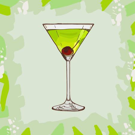 Bevanda alcolica del bar Japanese Slipper Contemporary Classics. Collezione di immagini di disegno del menu disegnato a mano di vettore. Schizzo illustrazione isolata del cocktail.