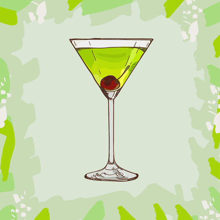 Japanese Slipper Contemporary Classics bar alcoholic drink. Vector hand drawn menu design image collection. Sketch isolated illustration of cocktail.