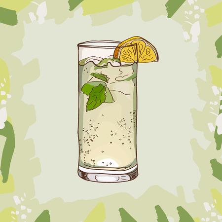 Bebida alcohólica del bar Moscow Mule Contemporary Classics. Colección de imágenes de diseño de menú dibujado a mano de vector. Boceto de ilustración aislada de cóctel. Ilustración de vector