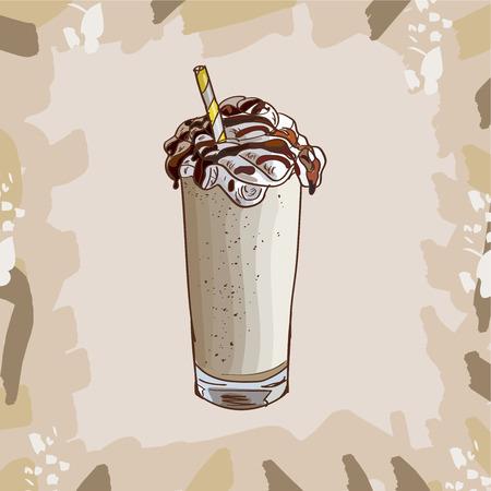 Cool Vanilla Milkshake im Glas mit Schokolade, Vanille, Karamell-Toffee isoliert. Bunte Vektorillustration im Skizzenstil. Handgezeichnetes Bild für Menü- und Posterdesign mit energiegeladenem frischem Getränk.