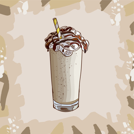 Cool Vanilla Milkshake in glass with chocolate, vanilla, caramel toffee isolated. Colorful vector illustration in sketch style. Hand drawn image for menu and poster design with energetic fresh drink.