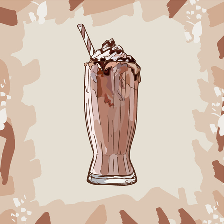 Cool Chocolate Milkshake in glass with chocolate, vanilla, caramel toffee isolated. Colorful vector illustration in sketch style. Hand drawn image for menu and poster design with energetic fresh drink.