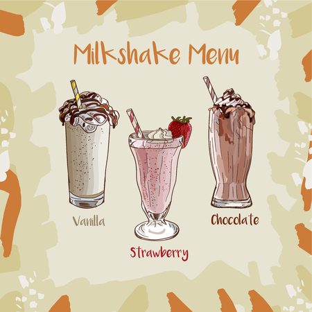 Strawberry, Vanilla, Chocolate Milkshakes set in glass isolated. Colorful vector illustration in sketch style. Hand drawn collection images for menu and poster design with fresh drink. Stock Illustratie