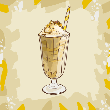 Cool Banana or Caramel Milkshake in glass with with pink strawberry and ice cream isolated. Colorful vector illustration in sketch style. Hand drawn image for menu and poster design with fresh drink.
