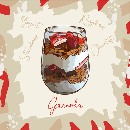 Parfait glass cup tasty dessert with granola, raspberry, strawberry and yogurt sketch style image. Hand drawn vector illustration. Isolated menu design item for posters, flyers and menu. 向量圖像