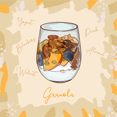 Parfait glass cup tasty dessert with granola, blueberry, peach and yogurt sketch style image. Hand drawn vector illustration. Isolated menu design item for posters, flyers and menu.
